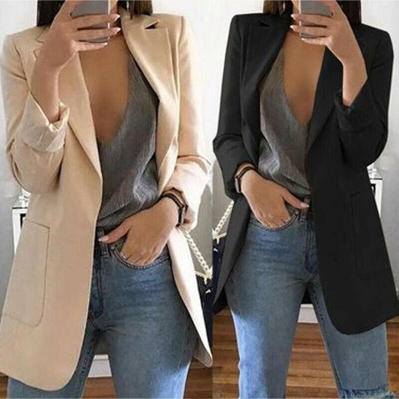 Casual Formal Slim Women Blazer Jacket Top Outwear Long Sleeve Career Long Coat