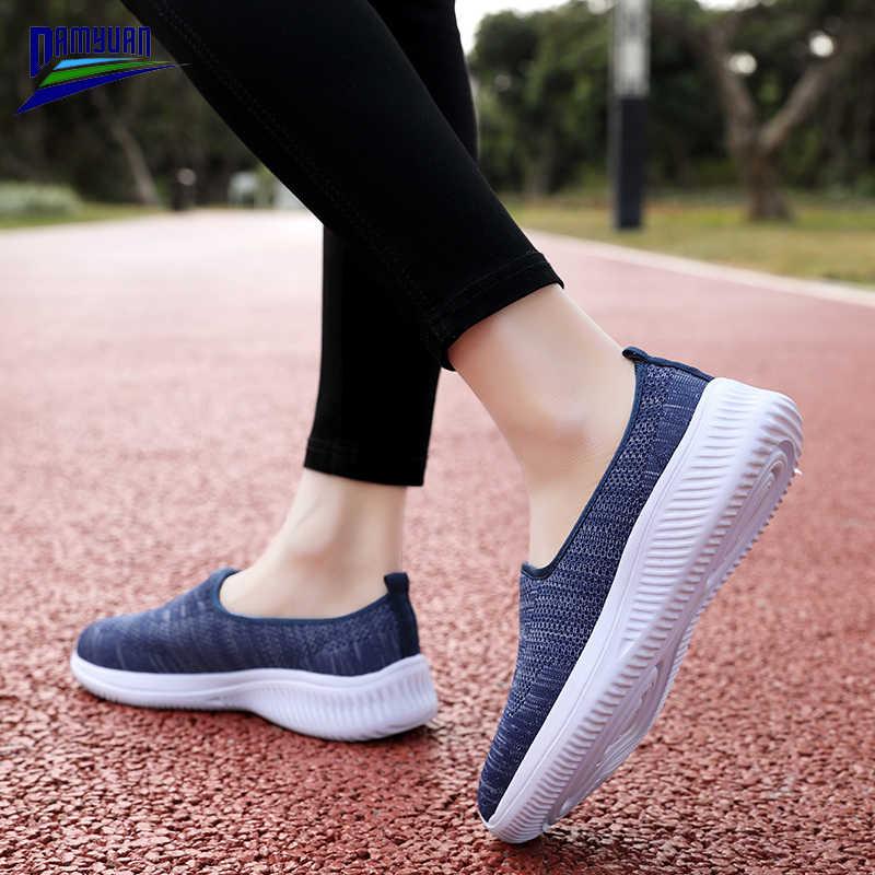 Damyuan düz renk kadın mokasen konfor düz tekne ayakkabı Buty Damskie moda bahar örgü Flats kadın spor ayakkabı platformu