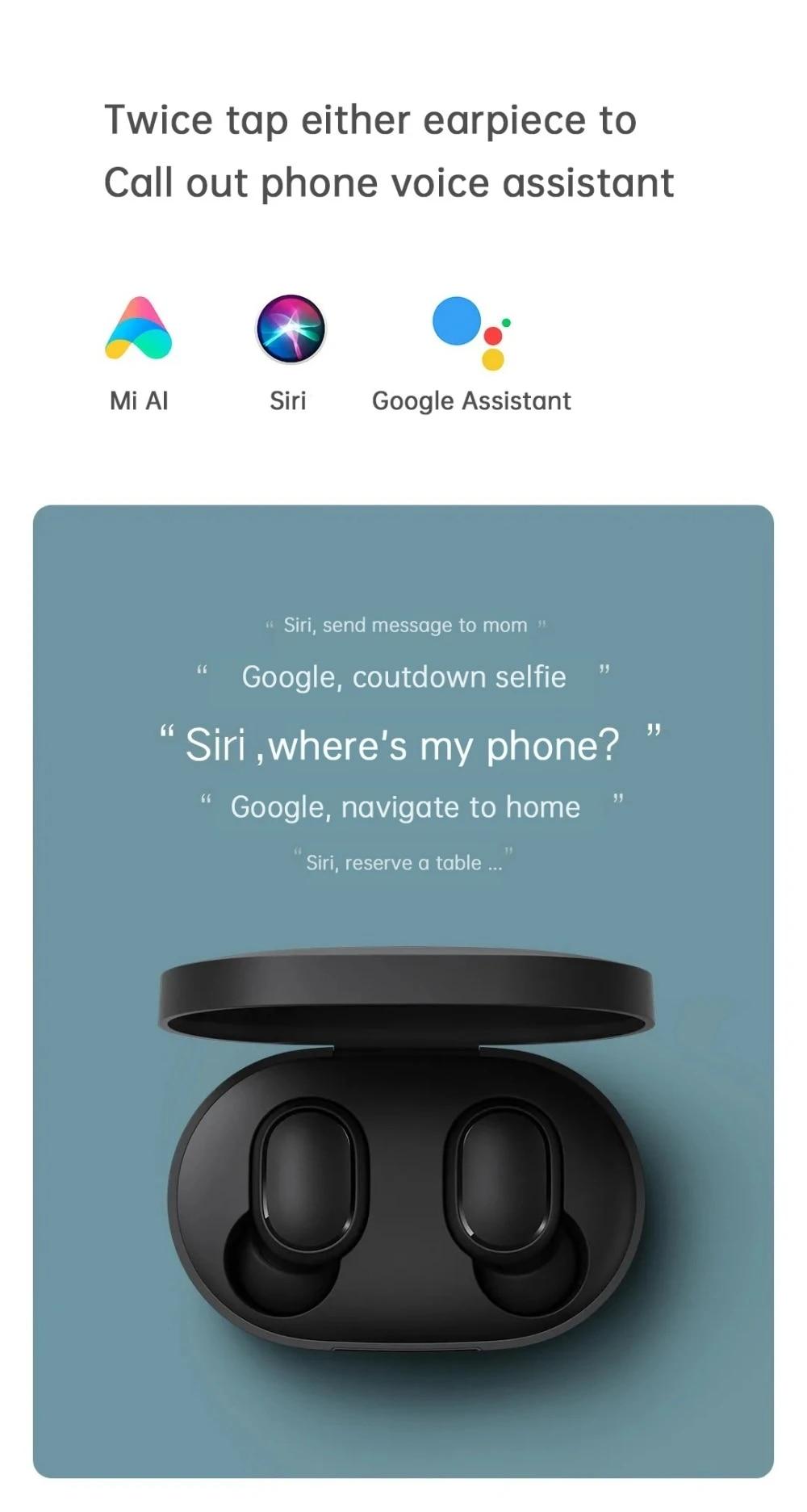 In Stock Xiaomi Redmi AirDots 2 Wireless Bluetooth 5.0 Charging Earphone In-Ear stereo bass Earphones Ture Wireless Earbuds AI Control (7)