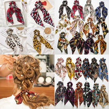 цена на New Ponytail Boho Elastic Hair Bands Ties Scarf Rope For Women Accessories Bow Ties Scrunchie Ribbon Gothic Headband Gift 2019