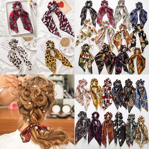 New Ponytail Boho Elastic Hair Bands Ties Scarf Rope For Women Accessories Bow Ties Scrunchie Ribbon Gothic Headband Gift 2019