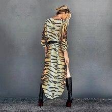Dress Cover-Up Kimono Bikini Swim-Suit Tiger Beach-Wear Chiffon A866 Sexy Striped Yellow