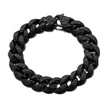 15mm Punk Style Stainless Steel Miami Curb Cuban Bracelet Mens Women Hip Hop Thick Black Biker Link Heavy Bracelets