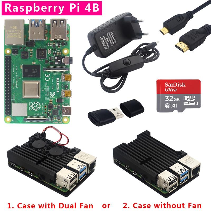 Original Raspberry Pi 4 Model B Kit Dual Fan Aluminum Case + Switch Power Plug + Micro HDMI Cable + 32GB SD Card For RPi 4 4B