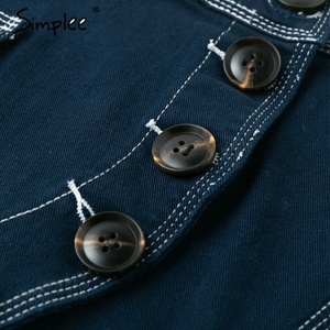 Image 5 - Simplee Patchwork A line button women jeans skirt High waist pocket female mini skirts Casual streetwear ladies short skirt 2019