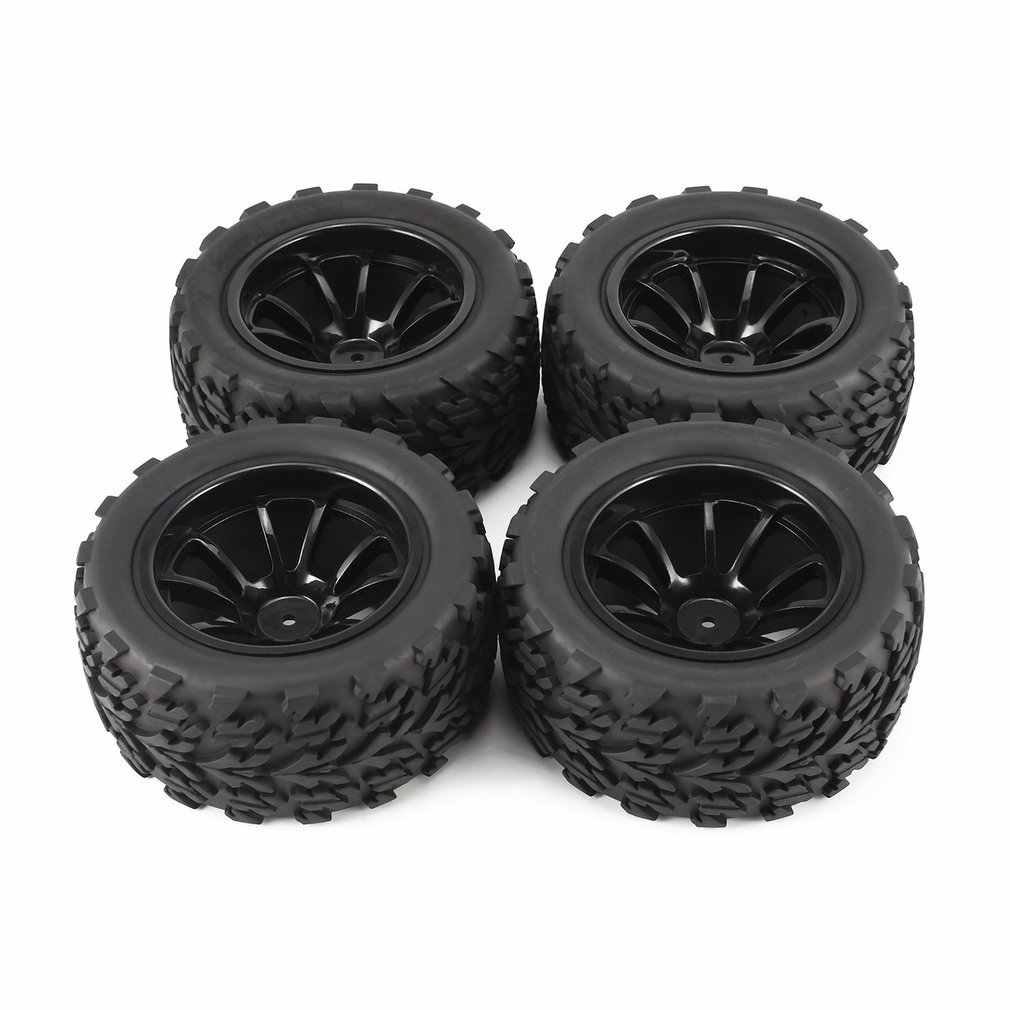 4Pcs 120mm 10 Contour Public Word Fetal Flower Off-road Wheel Rim and Tires for 1/10 Monster Truck Racing RC Car Accessories