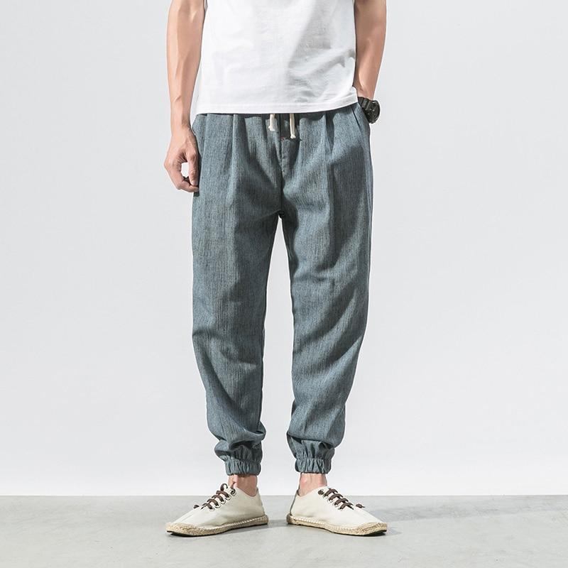 Винтажные хлопковые льняные шаровары, Мужские штаны для бега, китайские традиционные Харадзюку летние свободные повседневные штаны, брюки