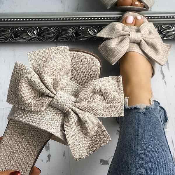 קשת קיץ סנדלי נעלי נשים קיץ חוף מקורה חיצוני פשתן כפכפים נעלי נשי אופנה פרחוני נעליים