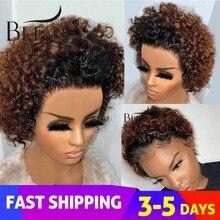 Beeos короткие кудрявые 250%, короткая стрижка боб парик 13*2 Синтетические волосы на кружеве человеческих волос парики бразильских неповреждённ...