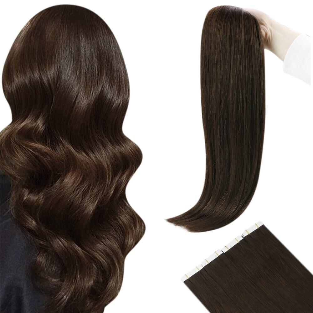 [Novo] fita ugeat em extensões de cabelo virgem cor marrom #4 salão de beleza qualidade do cabelo 100% cabelo humano real cabelo macio natural