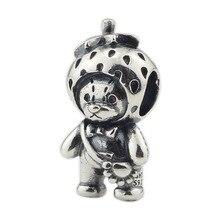 Подвески бусины из серебра 925 пробы в виде клубничного медведя, подходят для оригинального брендового браслета, ювелирные изделия, аксессуары для изготовления ювелирных изделий