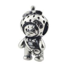 Echtes 925 Sterling Silber Erdbeere Bär Charm Perlen Fit Original Marke Armband Schmuck Vintage Perle für Schmuck Machen