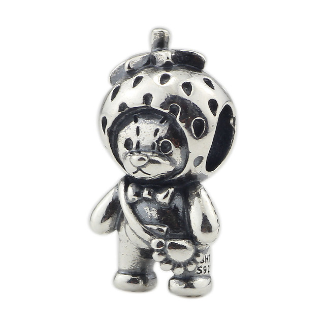 Genuine 925 Sterling Silver Strawberry Bear Charm Beads Fit Original Brand Bracelet Jewelry Vintage Bead for Jewelry Making