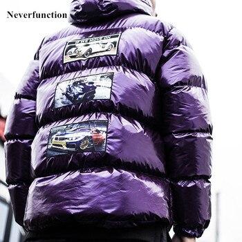 Men winter Bright silver purple Thick warm Padded Hooded Parka jacket fashion Streetwear Oversized Hip hop printed coat Outwear
