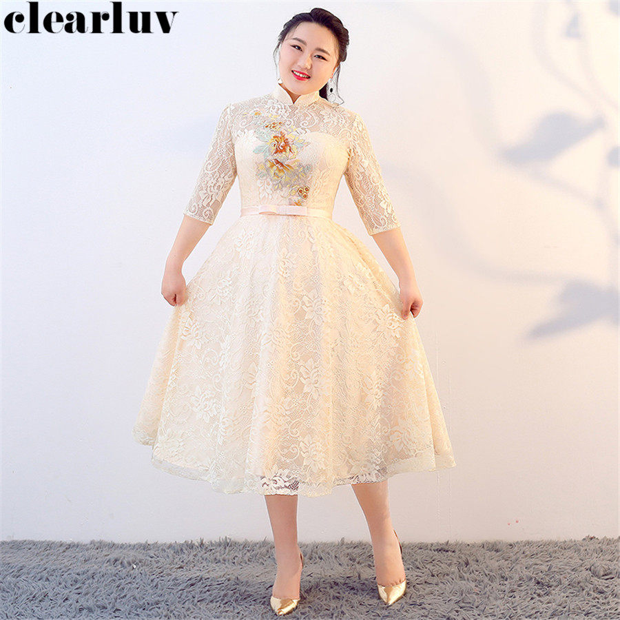 Prom Dress Vintage High Collar Vestidos De Gala T374 2019 New Plus Size Dresses Women Party Night Sweet Champagne Lace Prom Gown