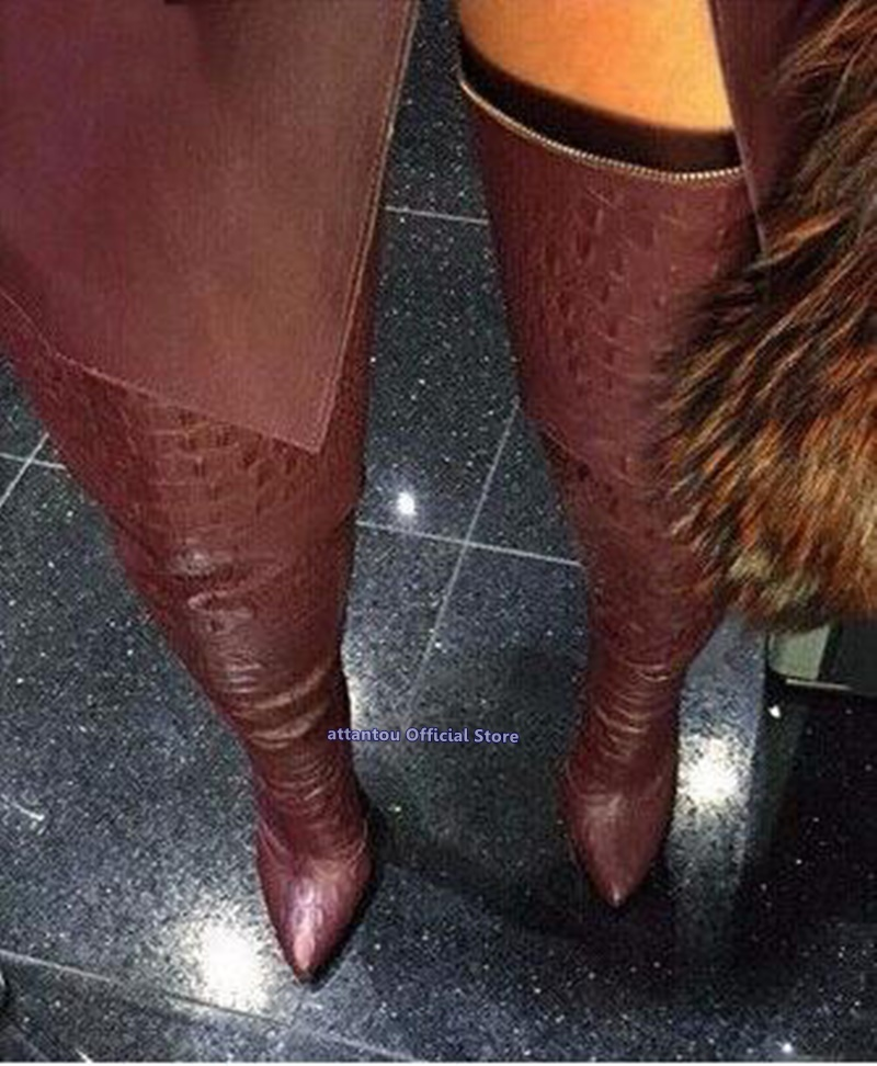 Wine Red Black Leather Thin High Heeled Pointed Toe Boots Women Autumn Winter Slip On Over The Knee Thigh High Boots