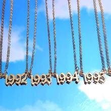 BYNOUCK personnalité année numéro colliers pour femmes année personnalisée 1980 1989 2000 cadeau d'anniversaire de 1980 à 2020 bijoux cadeau