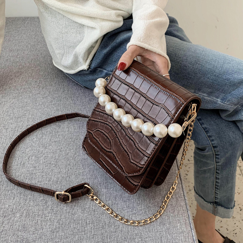 Stone Pattern PU Leather Crossbody Bags For Women 2020 Handbags and Purses Pearl Handle Shoulder Messenger Bag With Handle