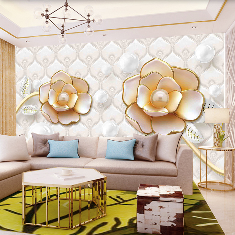 5D TV Background Wallpaper Living Room European Soft Roll 3D Wallpaper 8D Stereo TV Wall Decoration Mural Wall Cloth Rose