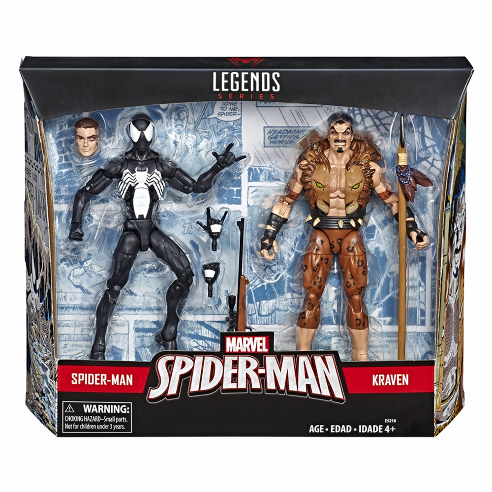Marvel Legends 2019 Symbiote Spider Man & Kraven The Hunter 2 Pack Action Figure Black Spiderman Spider-man Original Toys Doll