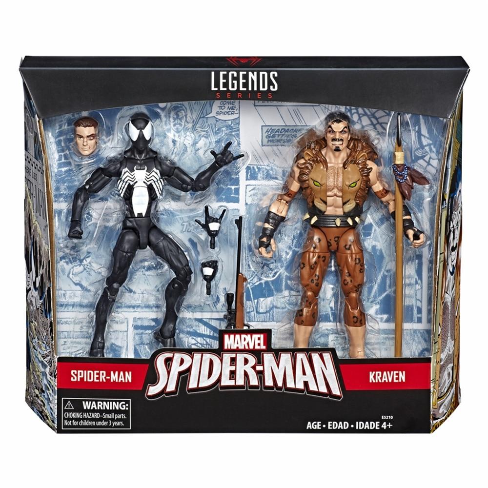 Marvel Legends 2019 Symbiote Spider Man & Kraven The Hunter 2 Pack Action Figure Black Spiderman Spider-man Original Toys Doll