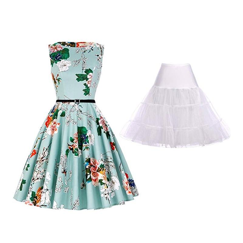 50's Retro Slim Dress Classical Floral Print Knee-length Dress Summer Banquet Evening Dress Casual Round Neck Sleeveless Dress