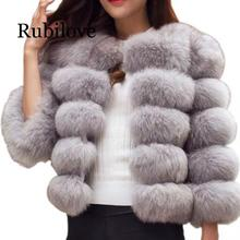 Rubilove S-3XL Mink Coats Women 2019 Winter Top Fashion Fur Coat Elegant Thick Warm Outerwear Fake Jacket