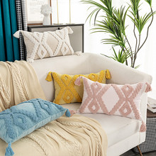 Boho Style Cushion Cover Pink Yellow Blue Beige Tassels Pillow Cover Handmade for Home Decoration Sofa Bed 45x45cm/30x50cm