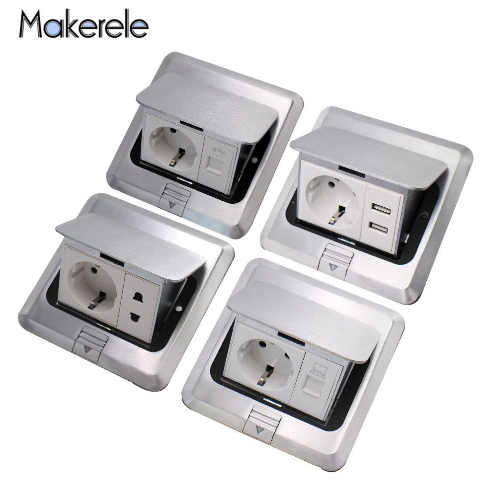 10A EU Standard Quick   Slow Pop Up Floor Socket USB Phone Internet Sockets 2 Way Electrical Switches Power Outlet