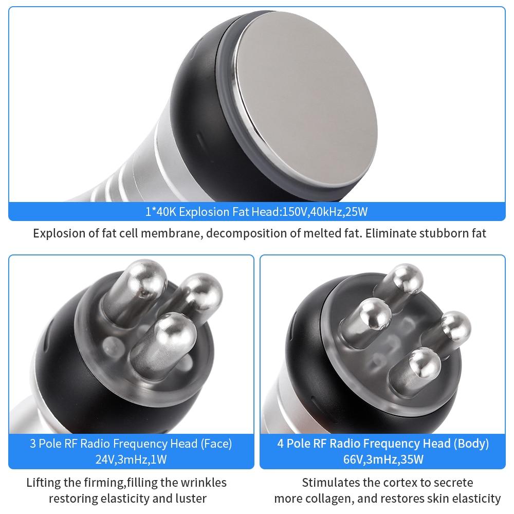 Image 2 - Multipolar RF Ultrasonic Body Slimming Machine 40K Cavitation Weight Loss Beauty Device Fat Burner Skin Tighten Anti wrinkleFace Skin Care Machine   -