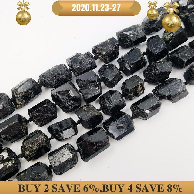 LiiJi Einzigartige Schwarz Tourmalines Riesige Lose Perlen Ca. 15x2 0mm/15x18mm Raw Stein 39cm machen Armband Halskette