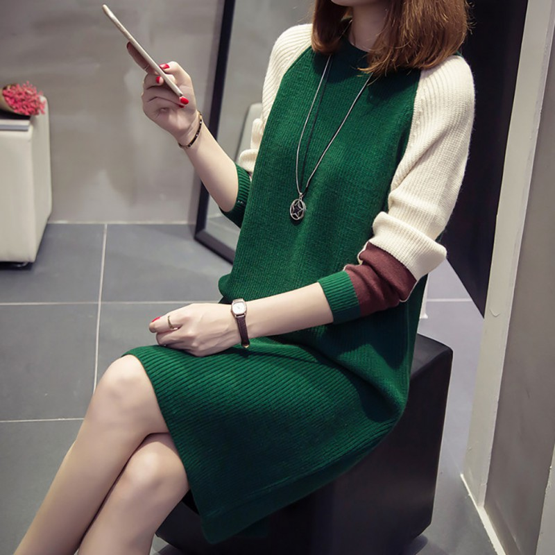 Women\'s Autumn And Winter Elastic Thread Casual Sweater Dress O Neck Long Sleeve Knitted Sweater Dress