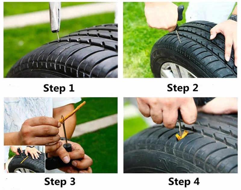 Araba lastik tamir araçları içsiz lastik araba lastik tamir tak kiti iğne yama düzeltme aracı otomatik faydalı setleri araba oto lastik tamir
