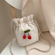 Women's Mini Canvas Shoulder Bag Cherry Small Cotton Handbag Totes Ladies Casual Vintage Purse Cloth Bucket Pouch For Girls
