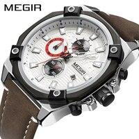 MEGIR Watch Men Waterproof Chronograph Calendar Military Male Clock Top Brand Luxury Leather Business Man Army Sport Wristwatch
