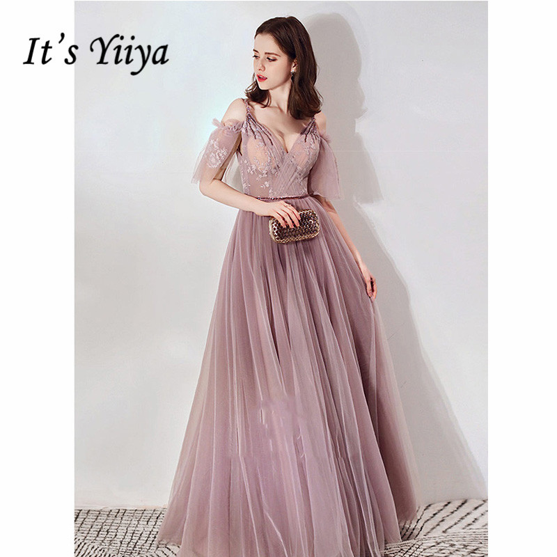 It's Yiiya Evening Dress 2019 Spaghetti Strap V-Neck Women Party Long Dresses Illusion Crystal Plus Szie Formal Dresses E1105