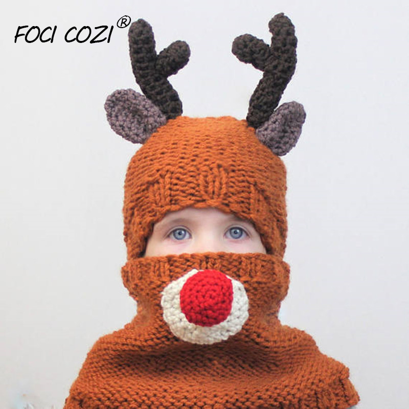 2019 Fashion Girl Christmas Thanksgiving Beanie Knitted Cap And Collar Warm Toddler Santa Deer Elk Knit Hat And Scarf For Fall