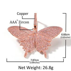 Image 5 - UWIN Hiphop Rose Gold Butterfly Pendant Necklaces Pink Cuban Link Chain For Women Iced Out AAA Cubic Zircon Fashion Jewelry