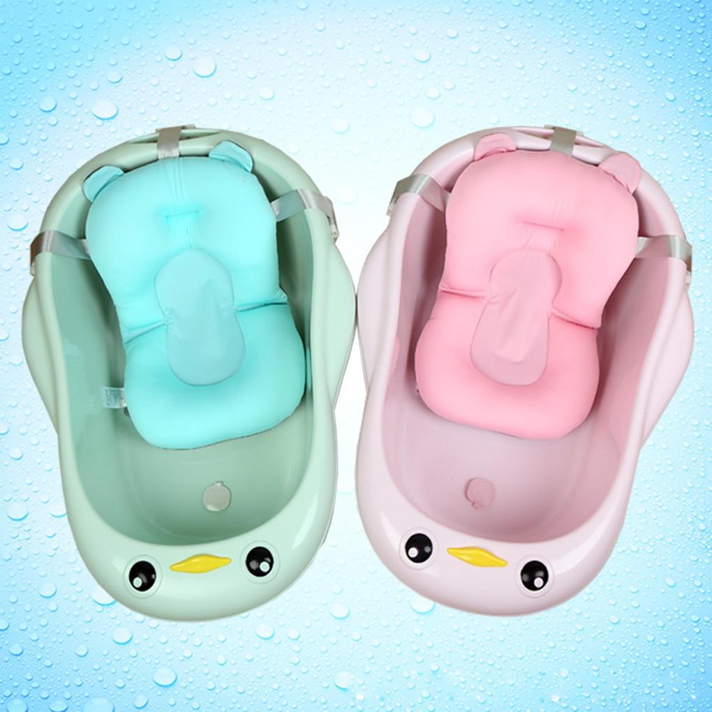 Newborn Baby Bath Tub Pad Shower Seat Cartoon Safety Non-Slip Support Cushion