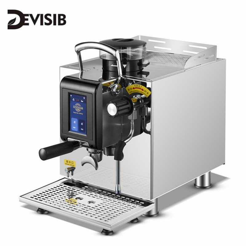 DEVISIB Touch Screen Commercial Automatic Espresso Coffee Machine Americano Maker With Bean Grinder And Milk Steamer