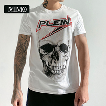 new arrival crystal  authentic plein skull original top quality 100% cotton slim fit homme men's short sleeve round neck t-shirt