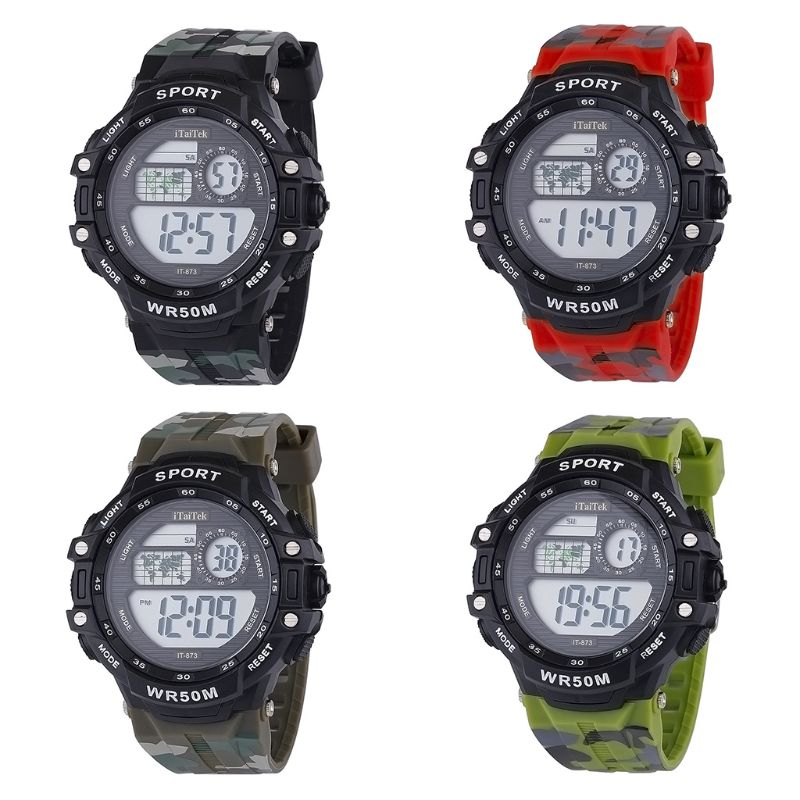 Children Students Multi-function Colorful Camouflage Waterproof Electronic Watch Casual Sports Boys Girls Watches M0XF