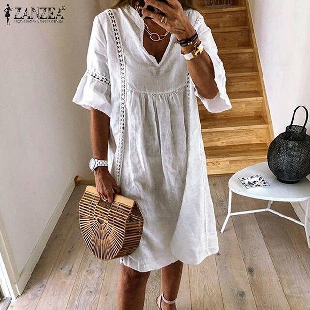 ZANZEA Summer Bohemian Lace Dress 2021 Women's V Neck Flare Sleeve Sundress Female Hollow Patchwork Robe Femme Tunic Vestidos 1