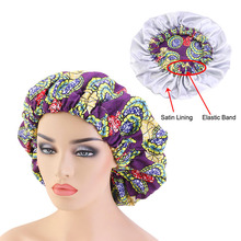 New Extra large Satin Lined Bonnets women African pattern print fabric Ankara bonnets Night Sleep Hat Ladies Turban