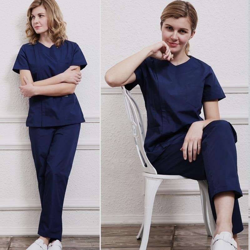 Women Zipper Opening Pure Cotton Scrub Set Or A Top Short Sleeve Round Collar Coat Doctor Nurse Dentist Workwear Medical Uniform