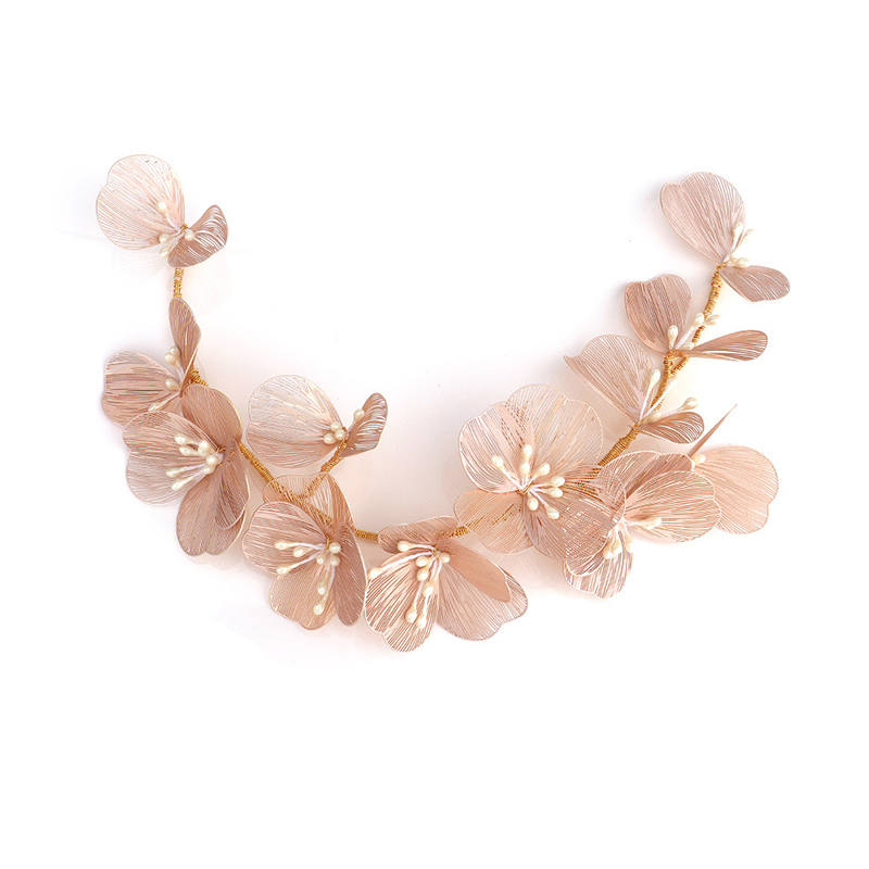 Simple Hair jewelry accessories gold silk petal headband bride wedding headdress pearl handmade headband dress hair accessories