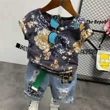 2 pçs wlg meninos conjunto de roupas verão crianças floral impresso t camisa e denim rasgado curto conjunto crianças roupas