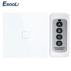 Esooli EU/UK Стандартный 1-позиционный дистанционный выключатель, AC 170 ~ 240 В настенный светильник, сенсорный выключатель с мини-пультом дистанцио...