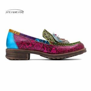 Image 2 - Las mujeres de cuero genuino oxford casual vintage Retro de la mujer, pisos zapatos hechos a mano zapatos de oxford para las mujeres de la primavera de 2020
