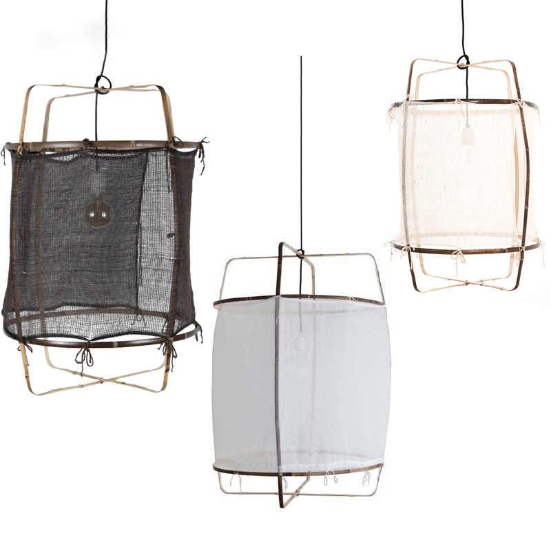 Скандинавский минималистичный кулон, освещение, льняная черно-белая бамбуковая Подвесная лампа для столовой гостиной Подвесная лампа для спальни